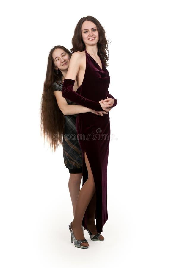 wieczór smokingowe siostry dwa zdjęcie royalty free
