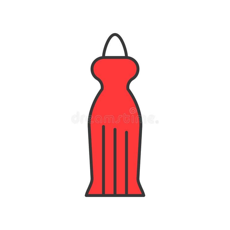 Wieczór suknia, wypełniający koloru konturu editable uderzenie royalty ilustracja