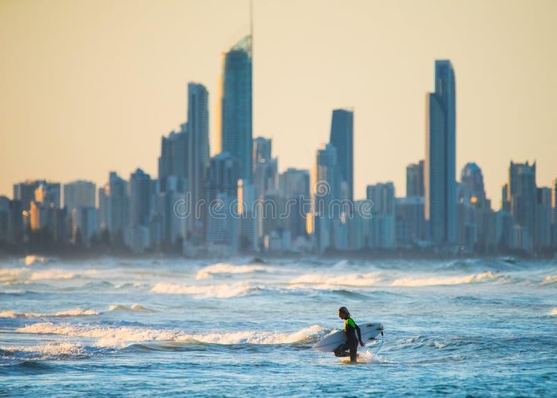 Wieczór surfing w Złocistym Goast, Australia obrazy stock