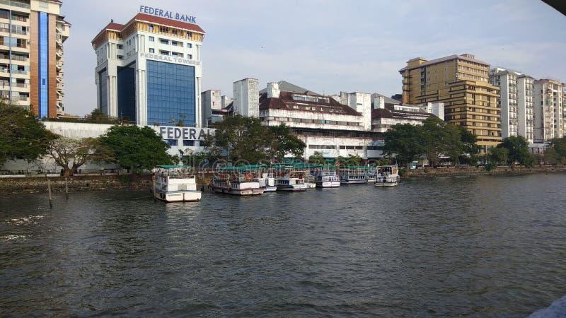Wieczór w Kochi miasto w Kerala zdjęcie stock