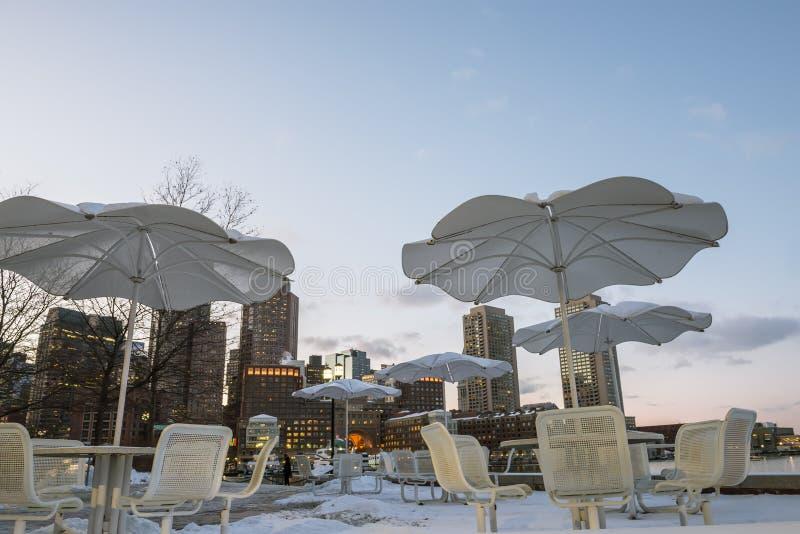 Wieczór widok Boston w zimie obrazy royalty free