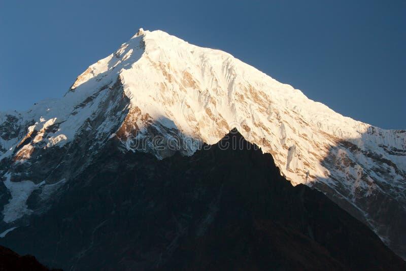 Wieczór widok góry Langtang szczyt obrazy stock