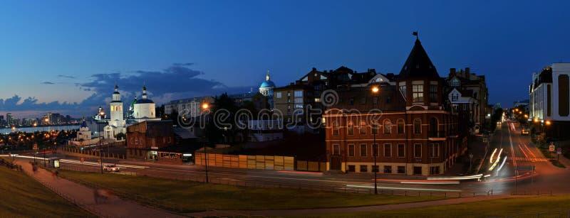Wieczór widok kościół Święty Wielki męczennik Paraskeva Piątek i katedra Kazan ikona matka bóg obraz stock