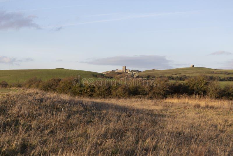 Wieczór widok przez pola blisko Weston Super klacza, Somerset, UK fotografia stock
