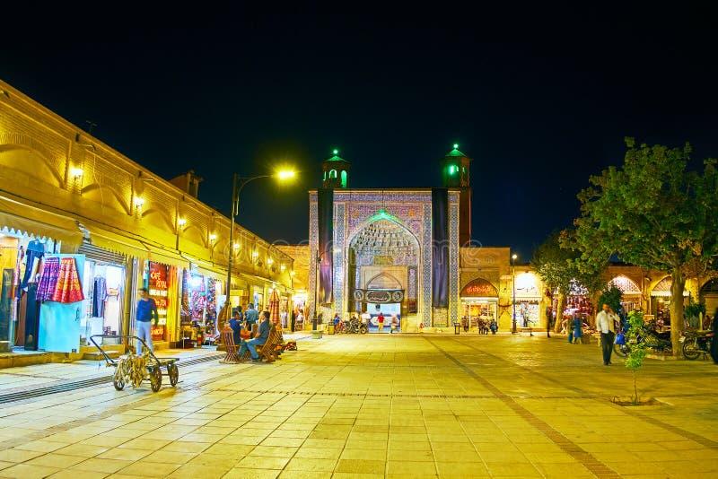 Wieczór widok Vakil meczet, Shiraz, Iran zdjęcia royalty free