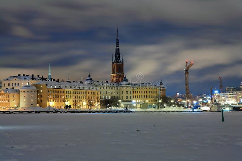 wieczór wyspa riddarholmen Stockholm widok obrazy stock