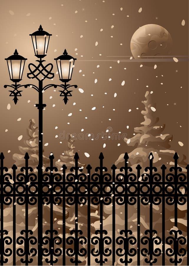 wieczór zima ilustracja wektor