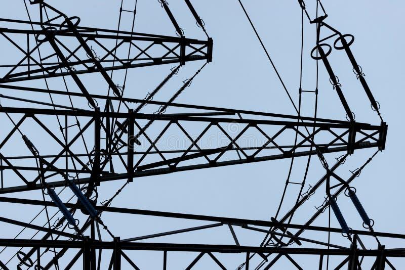 Wieczór zimowy pilon elektryczny obraz royalty free