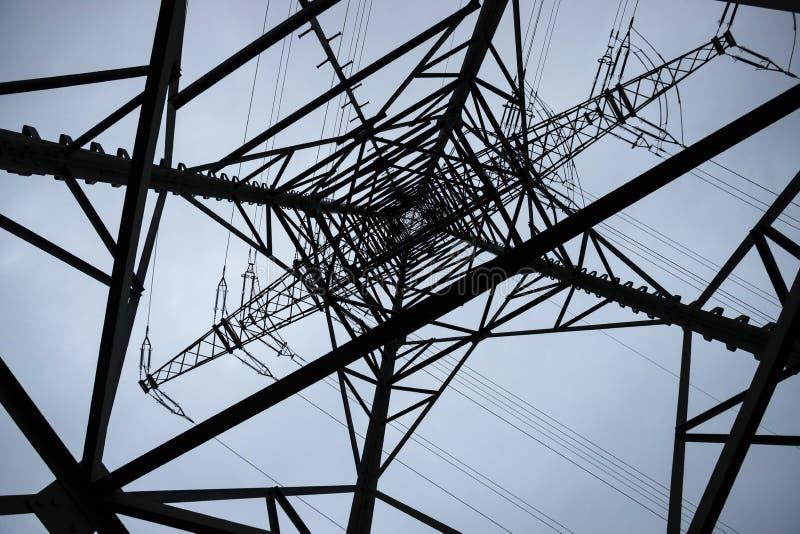 Wieczór zimowy pilon elektryczny zdjęcia royalty free
