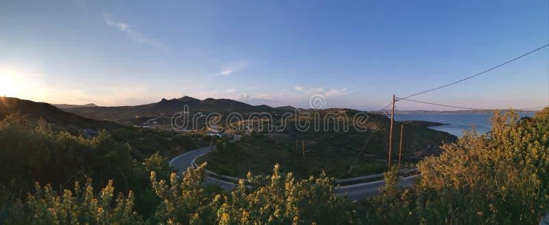 Wieczór zmierzchu panoramiczny widok przy Sounion Grecja zdjęcia stock