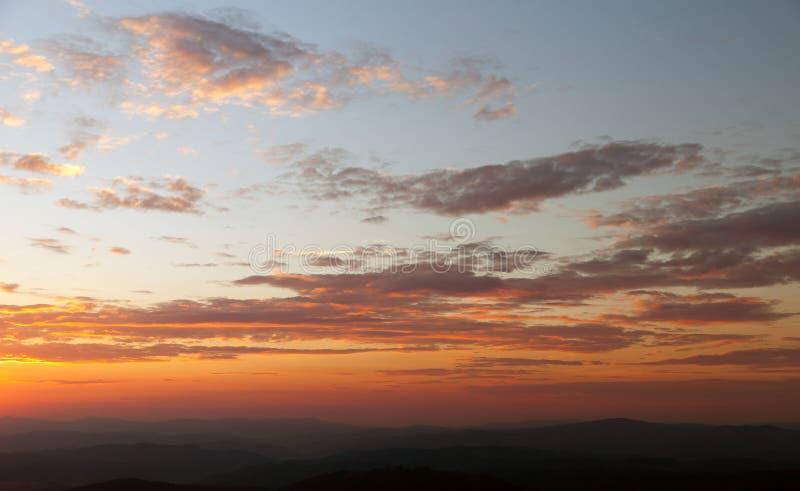 Wieczór zmierzchu widok piękny niebo fotografia royalty free