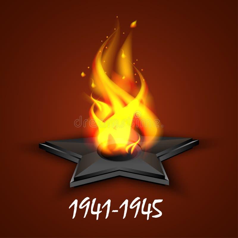 Wiecznie ogień, faborku St George ` s, Rosyjski wakacyjny Maj 9, zwycięstwo dzień Kartka z pozdrowieniami, dzień pamięć ilustracja wektor
