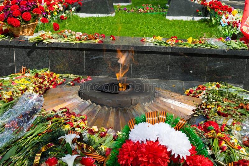 Wiecznie płomień z kwiatami - obraz royalty free