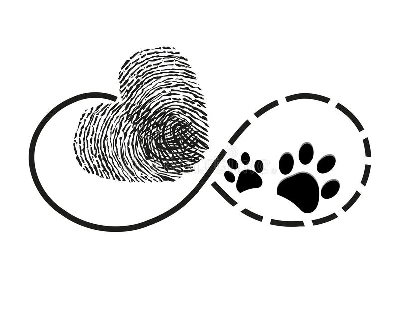 Wieczność z odcisku palca sercem i pies łapą drukuje symbolu tatuaż royalty ilustracja