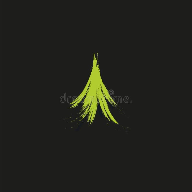 Wiecznozielone iglaste zielonego koloru igły drzewo, cedr, sosnowi śniadanio-lunch Abstrakcjonistyczny wektorowy loga element Nat royalty ilustracja