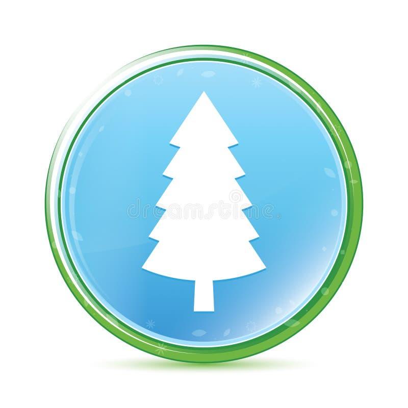 Wiecznozielonego conifer sosny ikony naturalnego aqua round cyan błękitny guzik ilustracji
