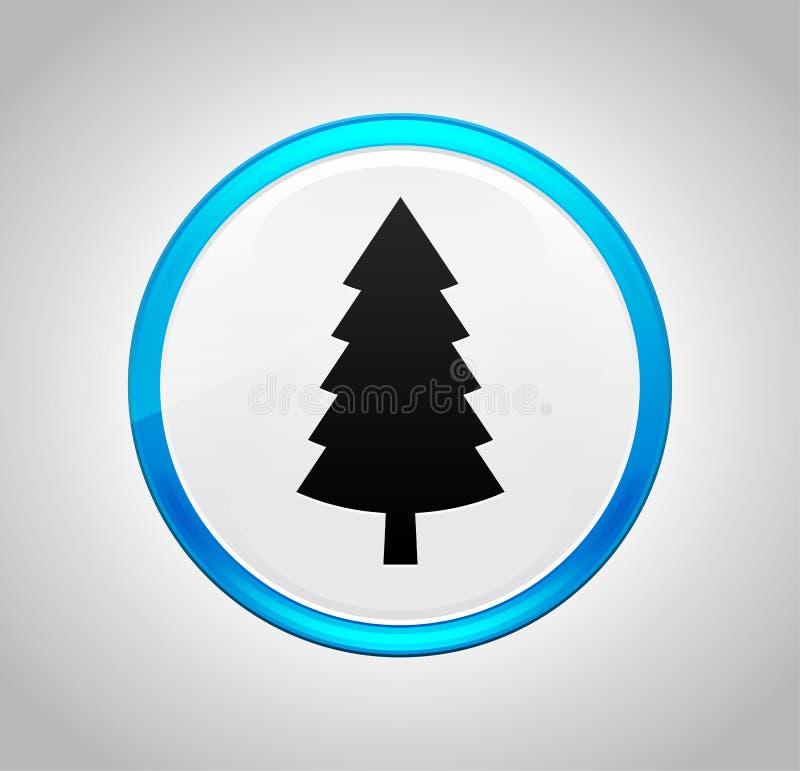 Wiecznozielonego conifer sosny ikony round pchnięcia błękitny guzik ilustracja wektor
