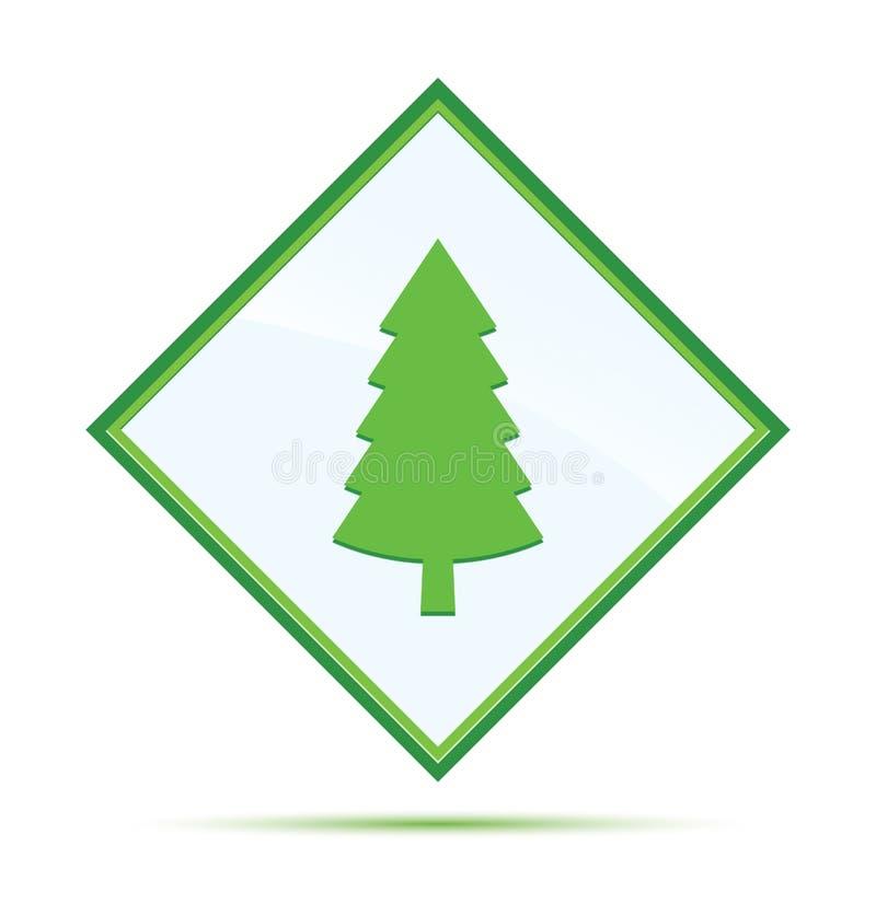 Wiecznozielonej conifer sosny ikony abstrakta nowożytnej zieleni diamentowy guzik royalty ilustracja