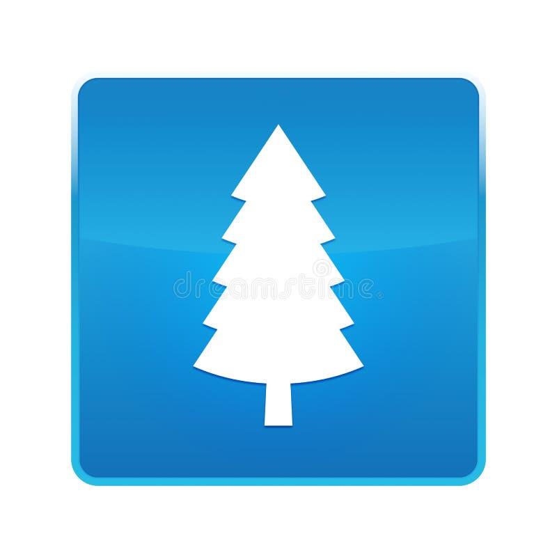 Wiecznozielonej conifer sosny ikony błękita kwadrata błyszczący guzik royalty ilustracja