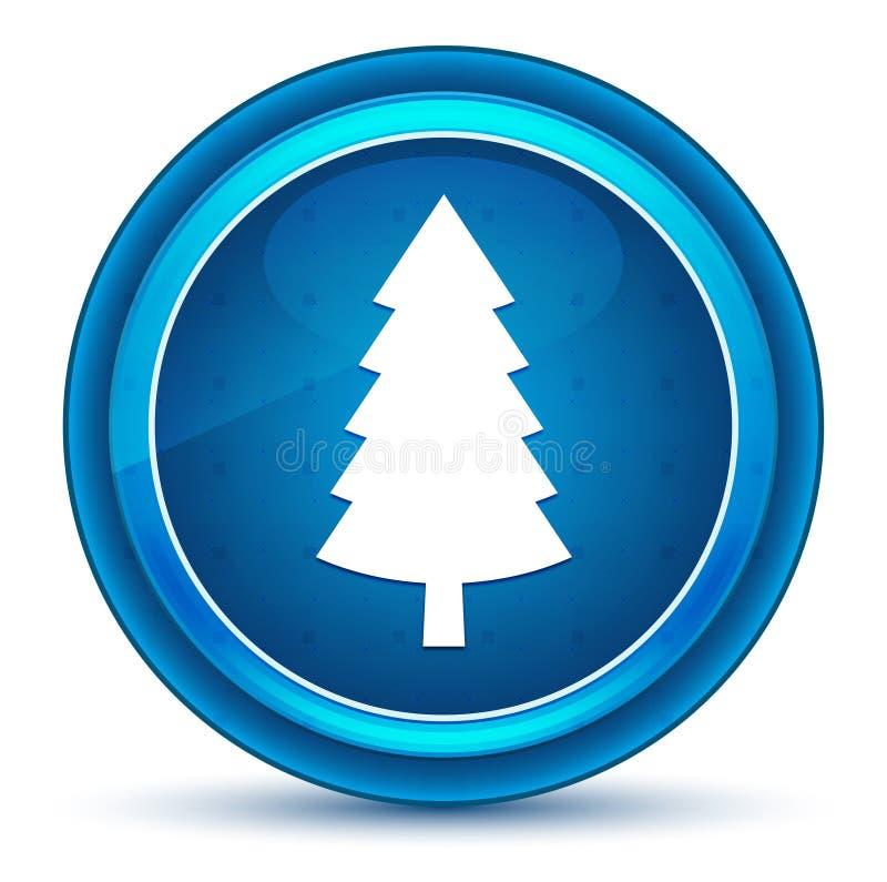 Wiecznozielonej conifer sosny ikony gałki ocznej round błękitny guzik royalty ilustracja
