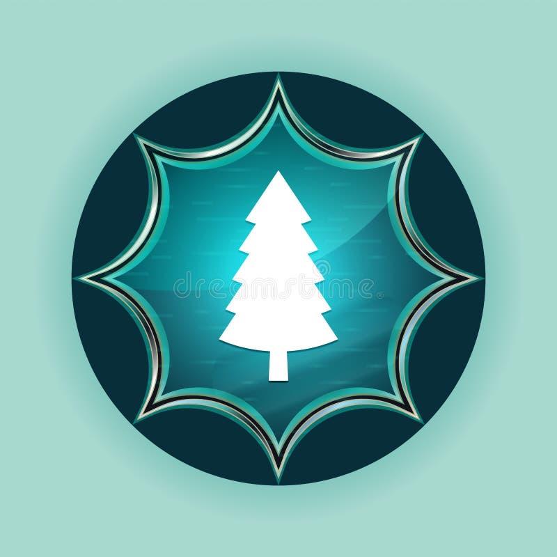 Wiecznozielonej conifer sosny ikony guzika nieba błękita magiczny szklisty sunburst błękitny tło royalty ilustracja