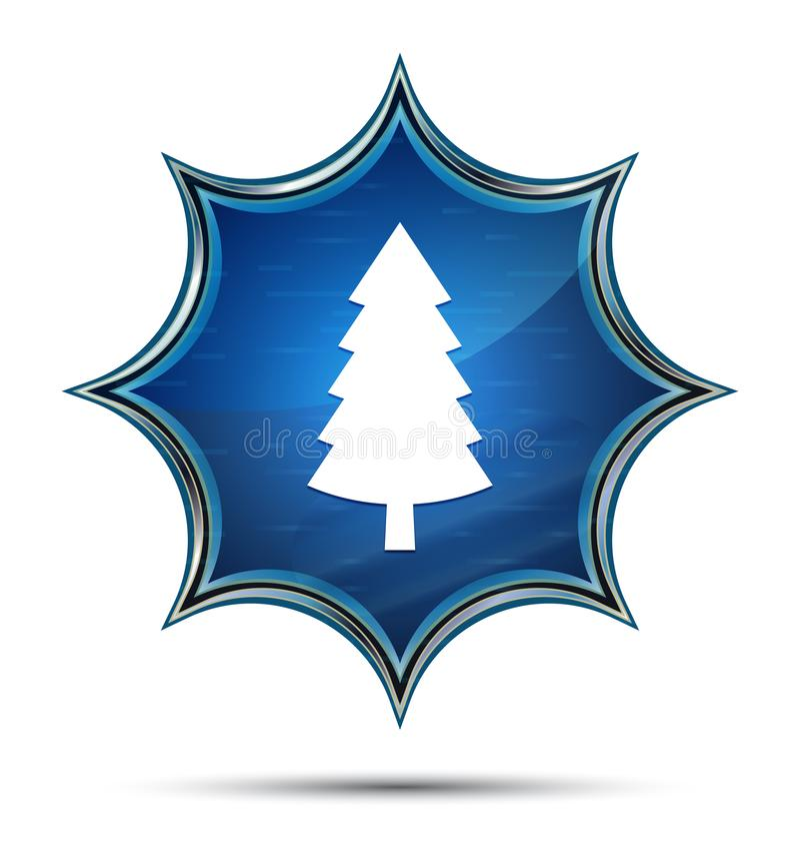 Wiecznozielonej conifer sosny ikony magiczny szklisty sunburst błękitny guzik ilustracji