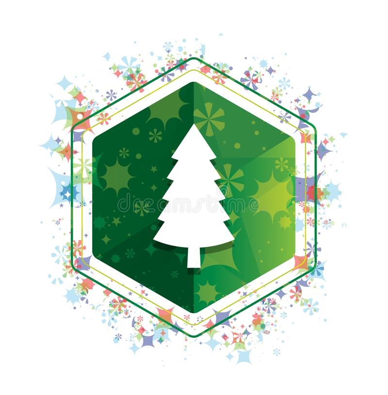 Wiecznozielonej conifer sosny ikony rośliien wzoru zieleni sześciokąta kwiecisty guzik ilustracji