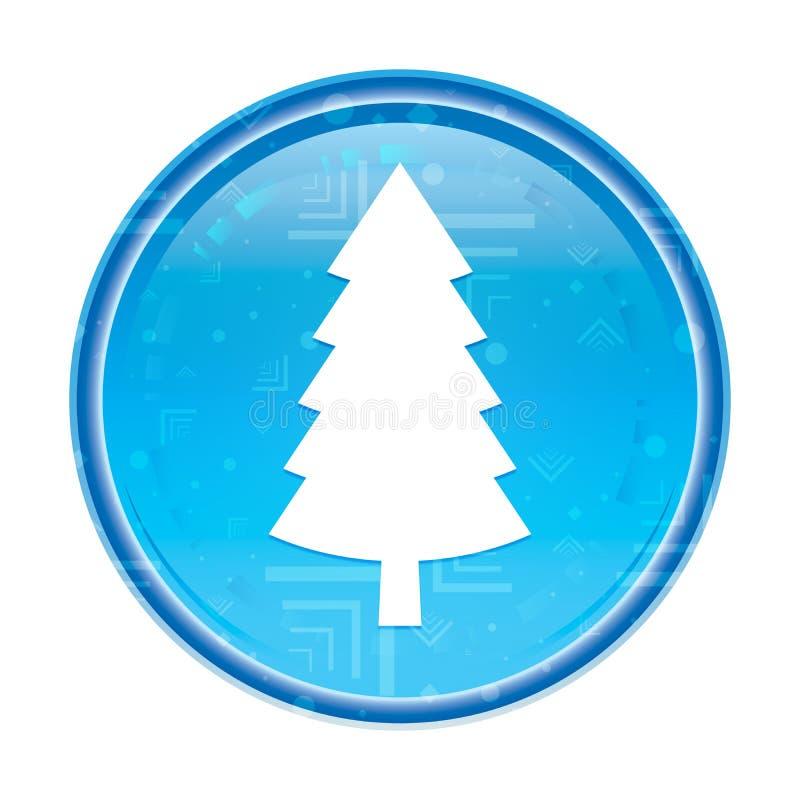 Wiecznozielonej conifer sosny ikony round kwiecisty błękitny guzik ilustracji