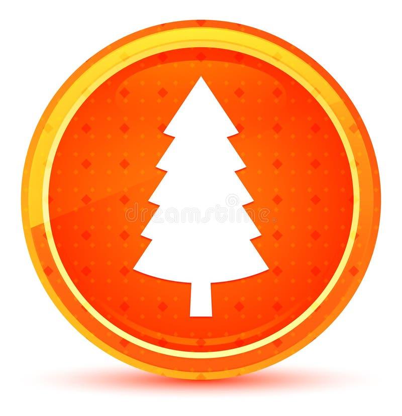 Wiecznozielonej conifer sosny ikony round naturalny pomarańczowy guzik ilustracja wektor