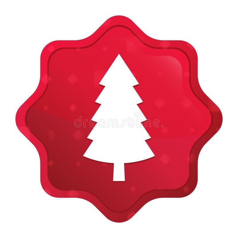 Wiecznozielonej conifer sosny ikony starburst majcheru mglisty różany czerwony guzik royalty ilustracja