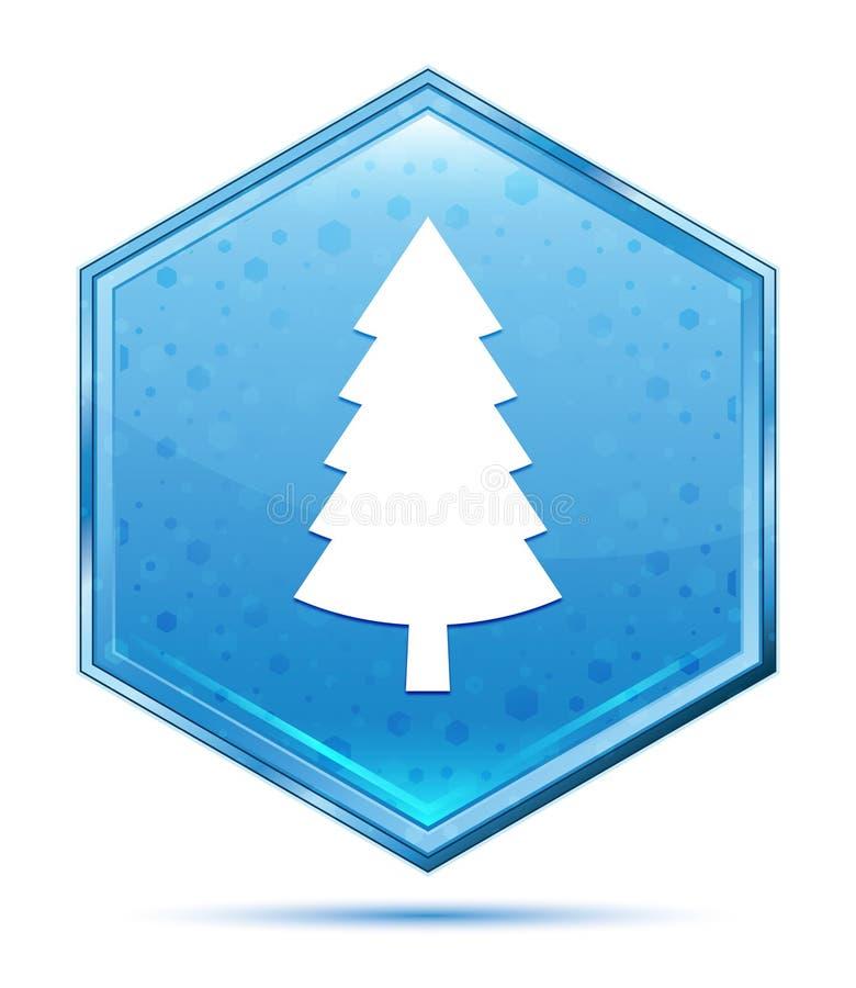 Wiecznozielonej conifer sosny ikony sześciokąta krystaliczny błękitny guzik ilustracja wektor