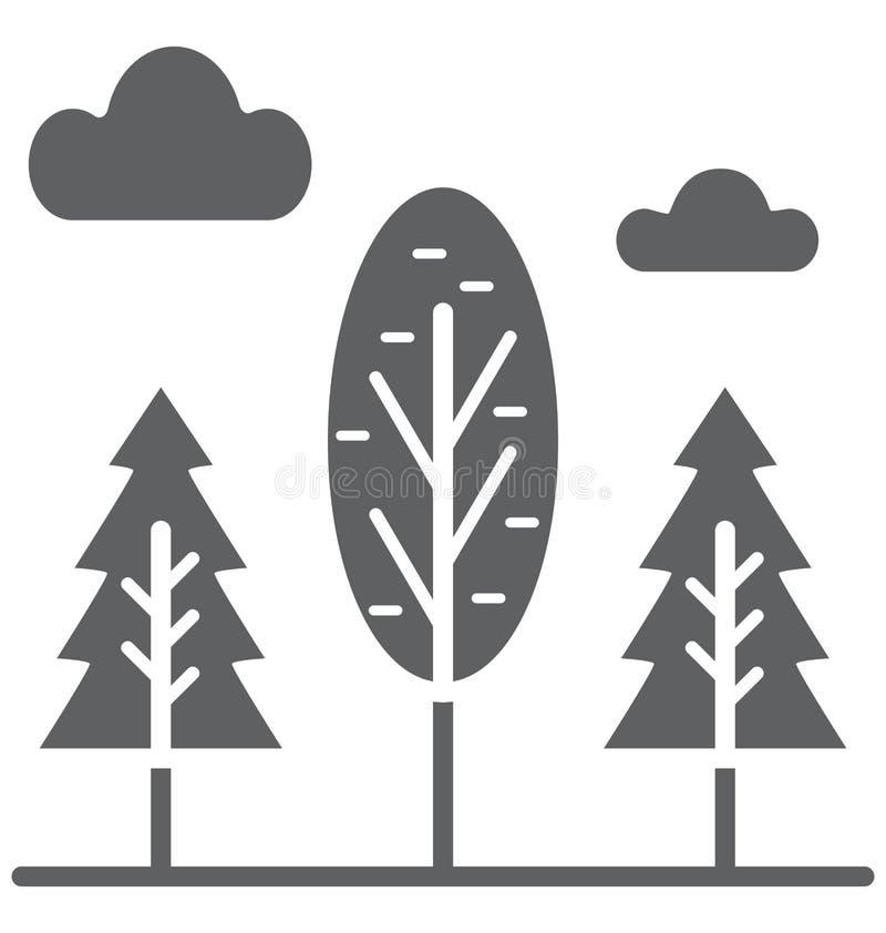 Wiecznozieloni drzewa Odizolowywali Wektorową ikonę która może łatwo redagować lub modyfikująca ilustracji