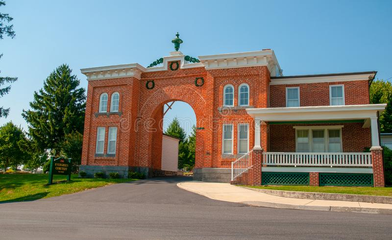 Wiecznozielony Cmentarniany Gatehouse zdjęcia stock