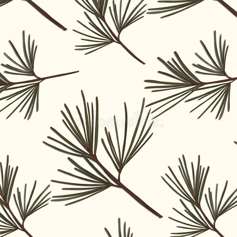 Wiecznozielony drzewo wzór Rocznika nowego roku wektoru tekstura Lasowych sezonowych bożych narodzeń okładkowy tło Botaniki zimy  ilustracja wektor