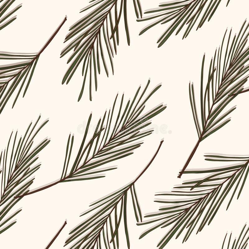 Wiecznozielony drzewo wzór Rocznika nowego roku wektoru tekstura Lasowych sezonowych bożych narodzeń okładkowy tło Botaniki zimy  royalty ilustracja