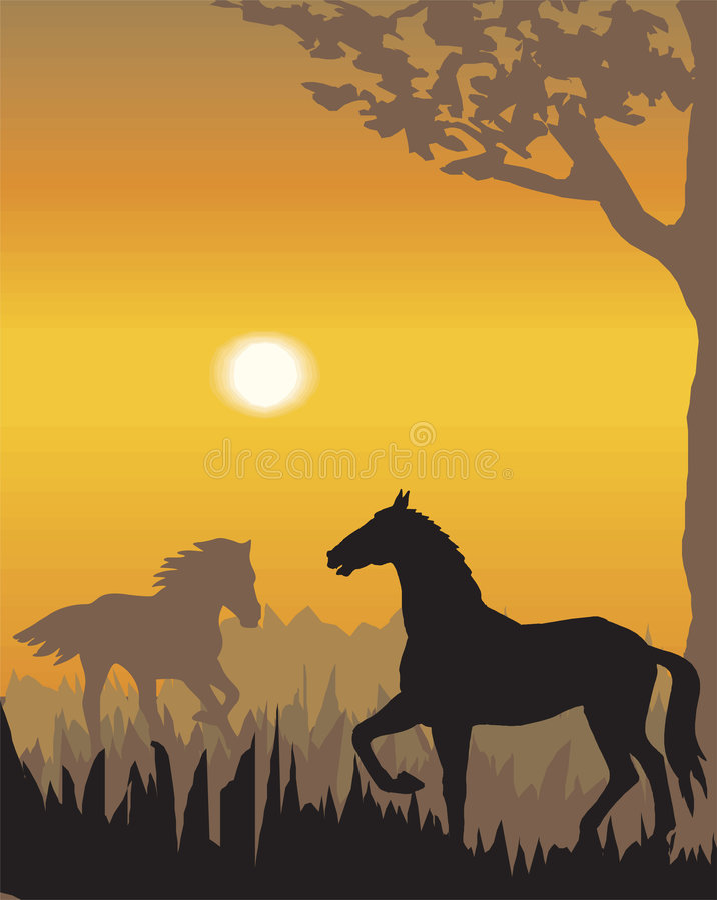 wieczorem ilustracji krajobrazu wektora royalty ilustracja