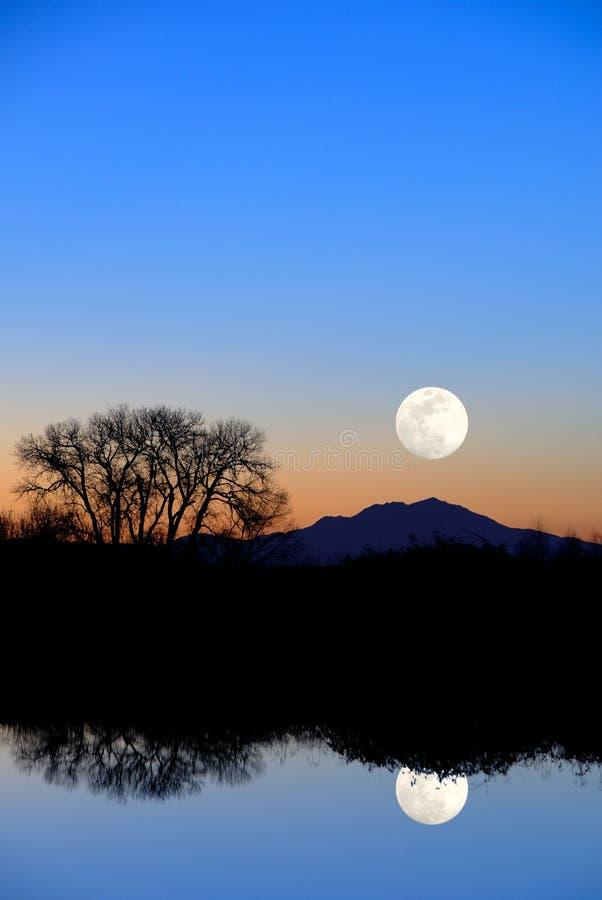 wieczorem niebieski księżyc odbicia fotografia royalty free