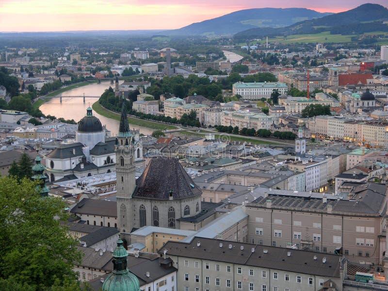 wieczorem Salzburga zdjęcia royalty free