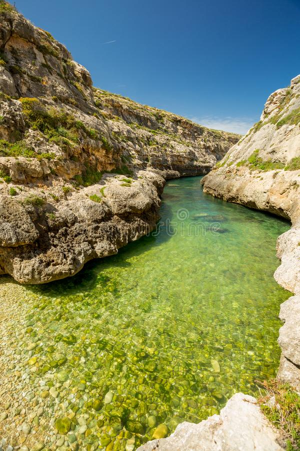 Wied IL-Ghasri, Gozo, Malta imagens de stock royalty free