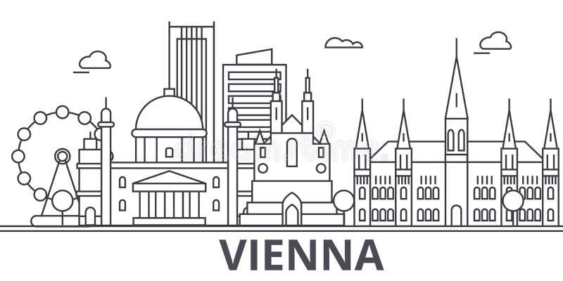 Wiedeń architektury linii linii horyzontu ilustracja Liniowy wektorowy pejzaż miejski z sławnymi punktami zwrotnymi, miasto widok ilustracja wektor