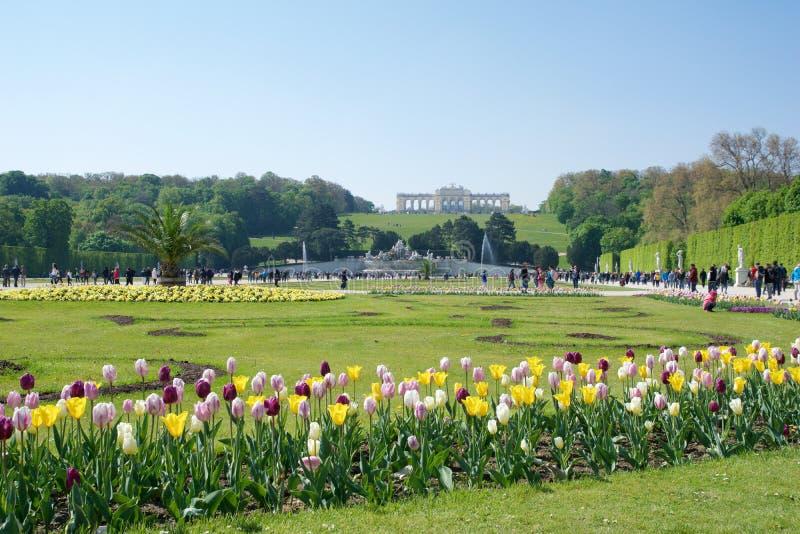 WIEDEŃ AUSTRIA, APR, - 30th, 2017: Neptune fontanna Neptunbrunnen w wielkim parterre Schoenbrunn jawny park z obraz stock