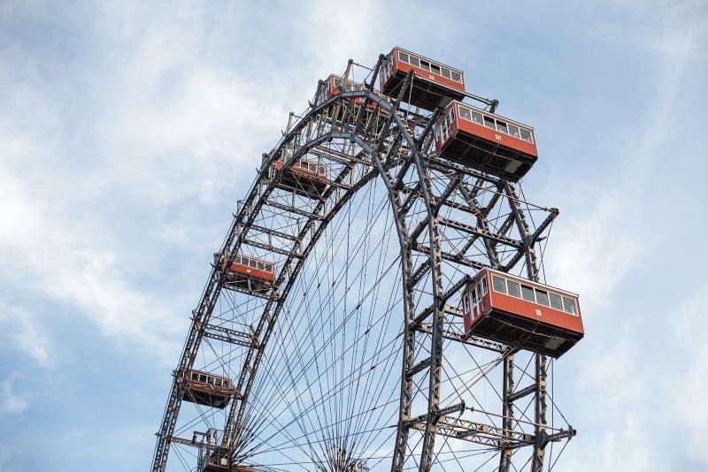 Wiedeń, Austria CZERWIEC 5, 2018: Sławny Ferris koło Wiedeń plociucha park dzwonił Wurstelprater zdjęcia royalty free