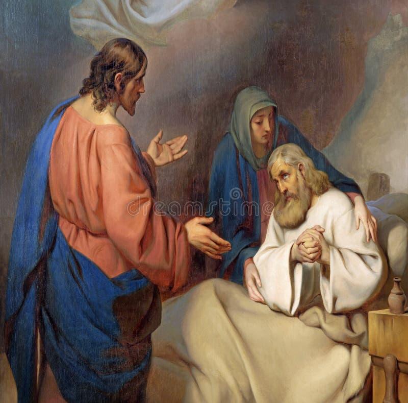 WIEDEŃ AUSTRIA, GRUDZIEŃ, - 19, 2016: Obraz śmierć St Joseph w kościelnym kirche St Laurenz zdjęcie stock