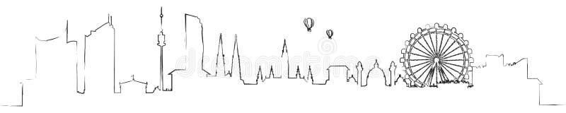 Wiedeń Austria linii horyzontu kreskowej sztuki odosobniony wektor royalty ilustracja