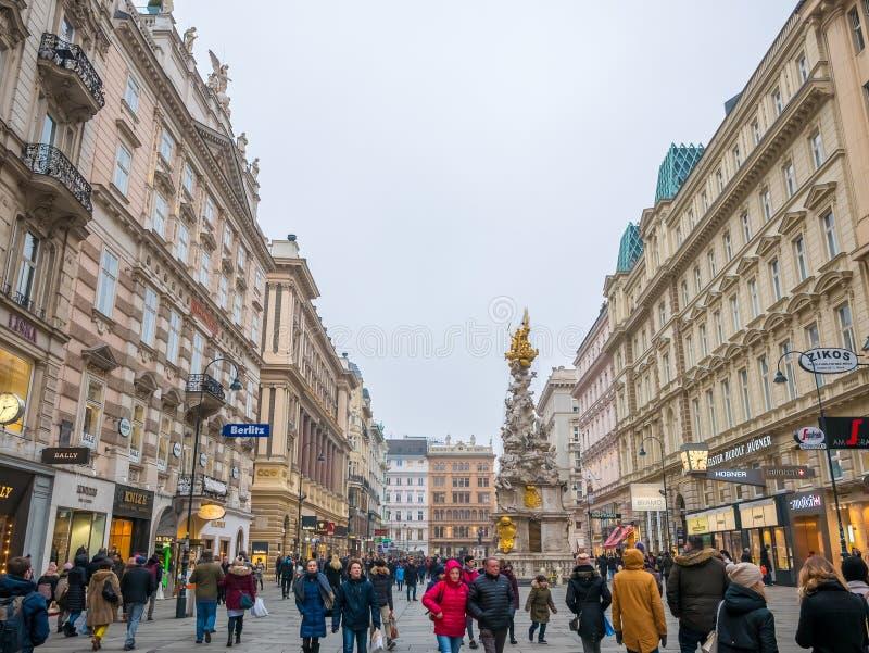 WIEDEŃ, AUSTRIA LUTY 17, 2018: Pejzaży miejskich widoki jeden Europa ` s najwięcej pięknego miasteczka obraz stock