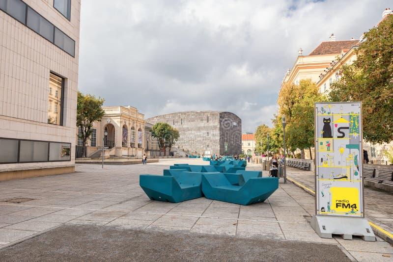 WIEDEŃ AUSTRIA, PAŹDZIERNIK, - 07, 2016: MuseumsQuartier i Leopold muzeum, Austriackiej architektury projekta miastowy muzeum, sz obrazy stock