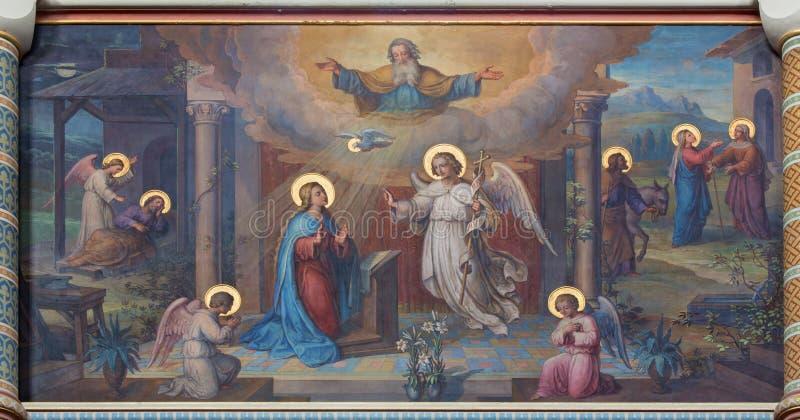 Wiedeń - fresk Annunciation scena obrazy stock