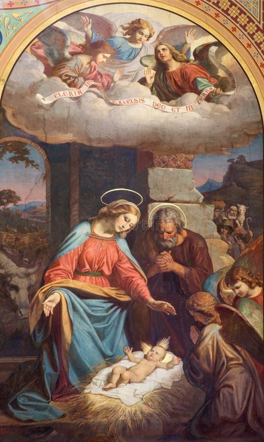 WIEDEŃ: Fresk narodzenie jezusa scena Karl Von Blaas od 19 cent w nave Altlerchenfelder kościół fotografia stock