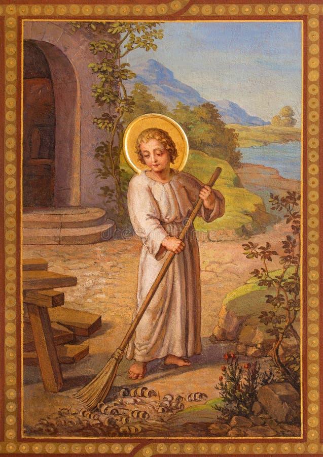 Wiedeń - fresk scena od życia mały Jezus Josef Kastner 1906, 1911 w Carmelites kościół fotografia royalty free