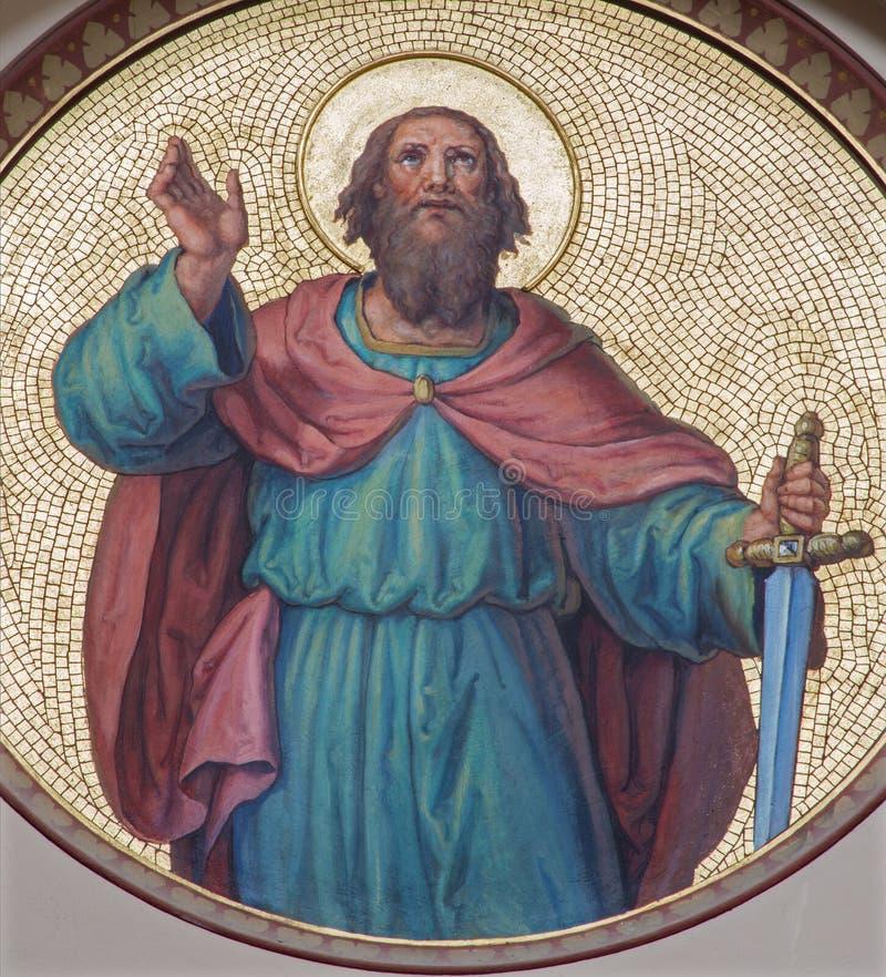 Wiedeń - fresk st Paul apostoł od zaczyna 20 cent josef Kastner od Carmelites kościół zdjęcie royalty free